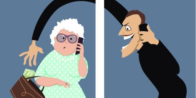 Scammer talks on a phone with a senior woman and trying to steal money out of her purse, vector illustration,...