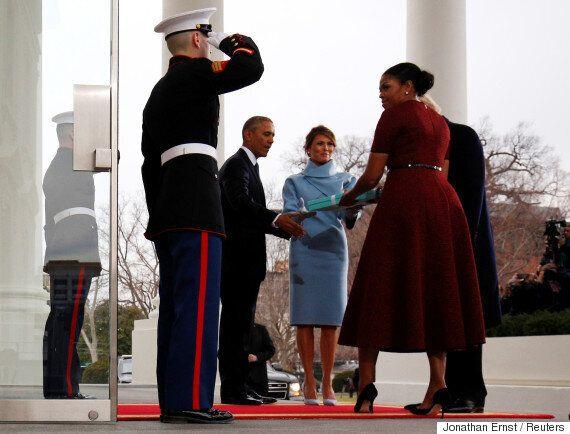 취임식을 앞두고 트럼프가 백악관에 도착해 오바마를 만났다(화보,