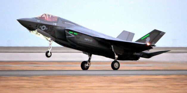 IWAKUNI, JAPAN - JANUARY 18: (CHINA OUT, SOUTH KOREA OUT) A U.S. Marine F-35B Lightning II jet lands...