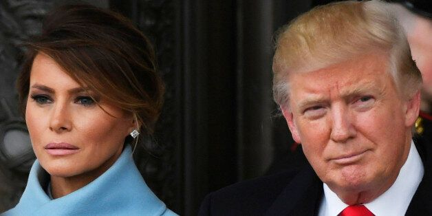 President Donald Trump and Melania Trump depart the 2017 Presidential Inauguration at the U.S. Capitol....