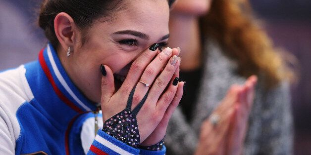 OSTRAVA, CZECH REPUBLIC - JANUARY 27: Evgenia Medvedeva of Russia reacts at the kiss and cry after competing...