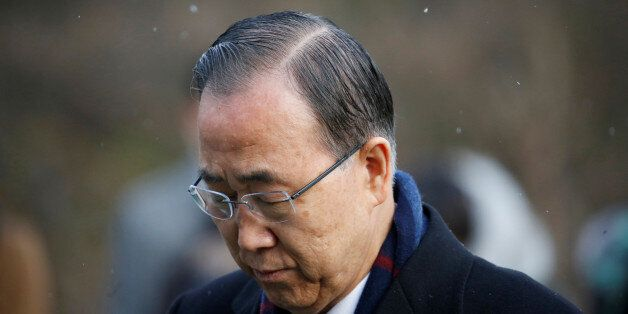 Former U.N. secretary-general Ban Ki-moon pays a tribute at the natioanl cemetery in Seoul, South Korea,...