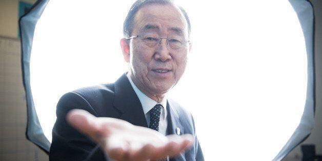 NEW YORK CITY, UNITED STATES - DECEMBER 23: UN Secretary General Ban Ki-moon in the UN photo studio during...