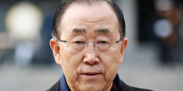 Former U.N. secretary-general Ban Ki-moon leaves after paying a tribute at the natioanl cemetery in Seoul,...