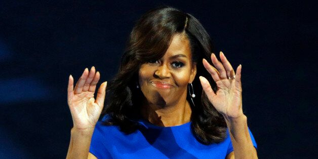 U.S. First lady Michelle Obama addresses the Democratic National Convention in Philadelphia, Pennsylvania,...