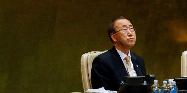 United Nations Secretary General Ban Ki-moon looks up during a tribute to the late King of Thailand Bhumibol...