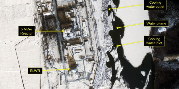 YONGBYON NUCLEAR FACILITY, NORTH KOREA - JANUARY 22, 2017: Figure 2. Water plume originating from the...
