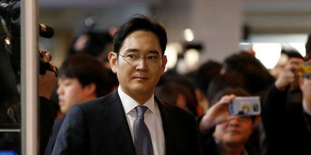 Samsung Electronics vice chairman Jay Y. Lee arrives to attend a hearing at the National Assembly in...