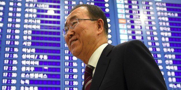 Former UN secretary-general Ban Ki-moon (C) arrives at the Incheon International Airport, west of Seoul,...