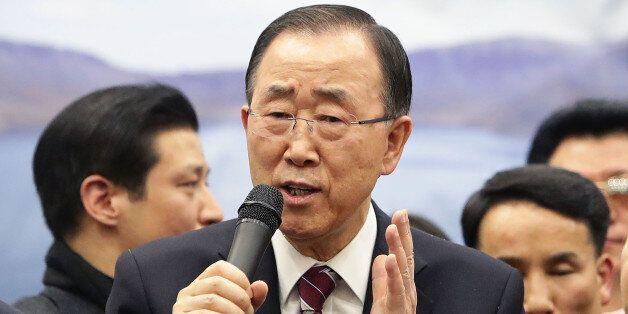 INCHEON, SOUTH KOREA - JANUARY 12: Former U.N. Secretary General Ban Ki-moon speaks to the media after...
