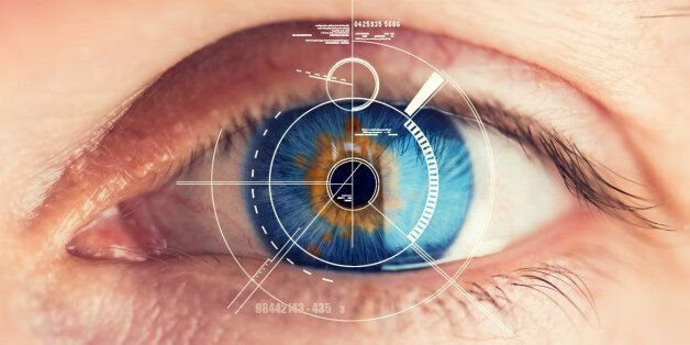 Stunning blue eye with an abstract Security Retina Scanner attached – great detail in the