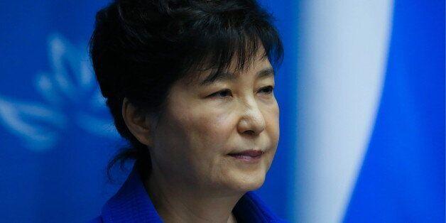 VLADIVOSTOK, RUSSIA - SEPTEMBER 3, 2016: South Korea's President Park Geun-hye gives a press conference...