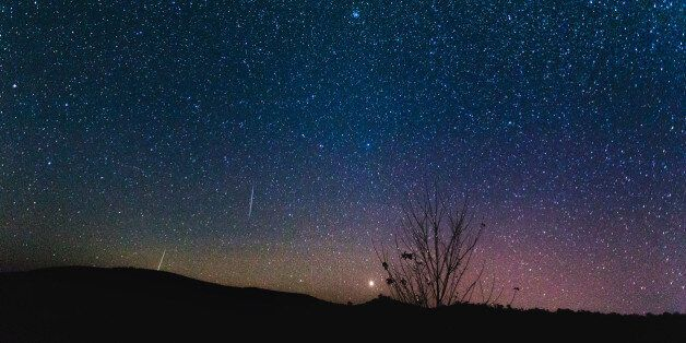 Composite image of shooting stars with a silhouette of a mountain and small tree during the 2015 Perseid...