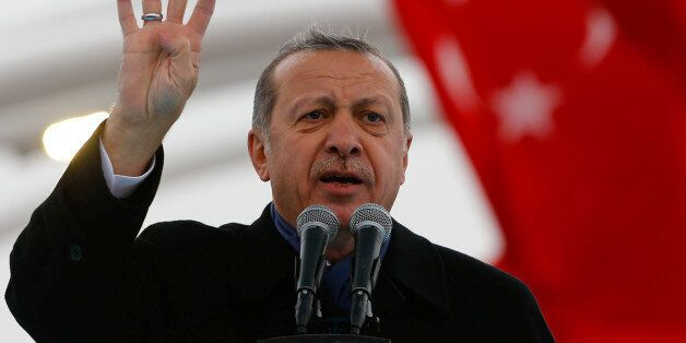 Turkish President Tayyip Erdogan makes a speech during the opening ceremony of Eurasia Tunnel in Istanbul,...