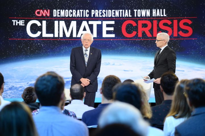 "Sen. Bernie Sanders (I-Vt.) in the climate crisis ""town hall"" on Wednesday, moderated by CNN's Anderson Cooper."