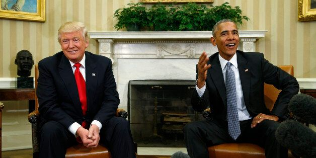 U.S. President Barack Obama (R) meets with President-elect Donald Trump to discuss transition plans in...