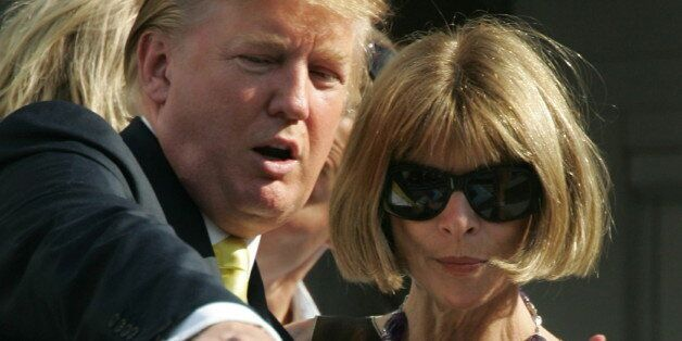 Businessman Donald Trump (L) and Anna Wintour editor in chief of Vogue attend the men's final at the...