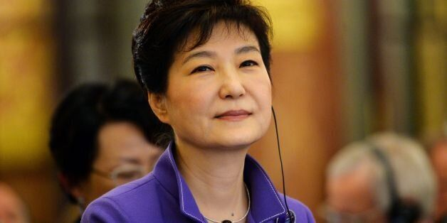 South Korean President Park Geun-Hye looks on during the France-Korea Economic Forum organized by French...