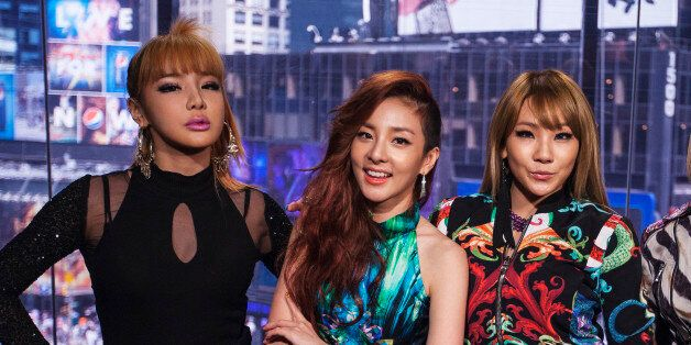 Members of the South Korean band 2NE1 (L-R) Bom, Dara, CL, and Minzy pose for a portrait in New York...