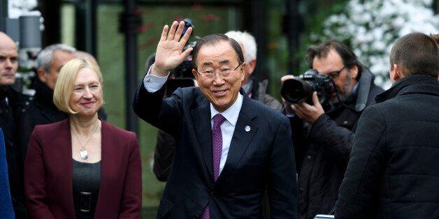 U.N. Secretary-General Ban Ki-moon attends the Cyprus reunification talks in the Swiss mountain resort...