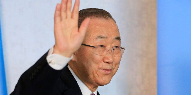 U.N. Secretary-General Ban Ki-moon attends the Cyprus reunification talks in the Swiss mountain resort...