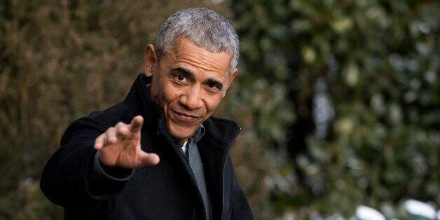 WASHINGTON, DC - JANUARY 07: President Barack Obama walks to Marine One on the South Lawn of the White...
