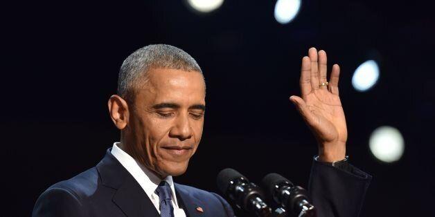 US President Barack Obama speaks during his farewell address in Chicago, Illinois on January 10, 2017.Barack...