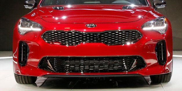 The 2018 Kia Stinger is introduced during the North American International Auto Show in Detroit, Michigan,...