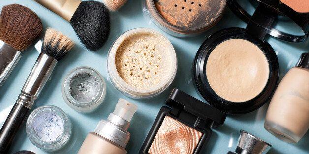 set of decorative cosmetic powder, concealer, eye shadow brush, blush,