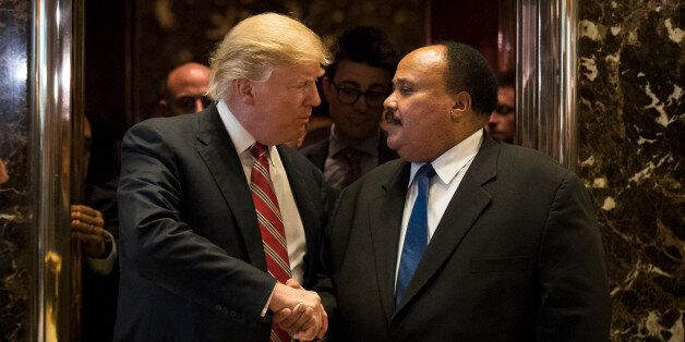 NEW YORK, NY - JANUARY 16: President-elect Donald Trump shakes hands with Martin Luther King III after...