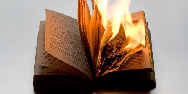 Burning book on white background. It refers to disregard for wisdom, history and knowledge. It points...