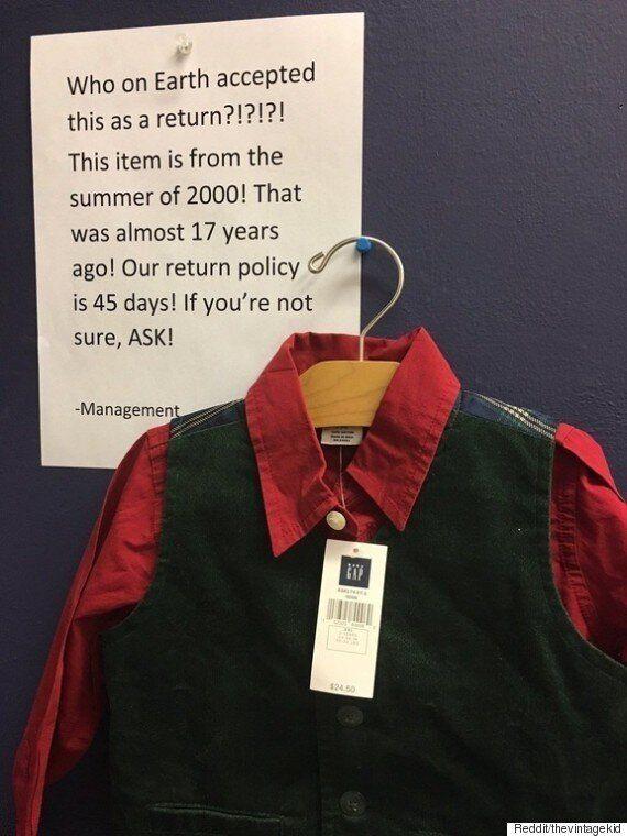 누군가 갭(GAP)에 17년 된 옷을 환불하는데 성공했다