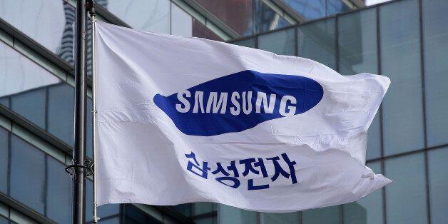 SEOUL, SOUTH KOREA - JANUARY 12: A Samsung flag flies outside the company's headquarters on January 12,...