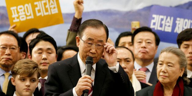 Former UN chief Ban Ki-moon speaks during a news conference upon his arrival at the Incheon International...
