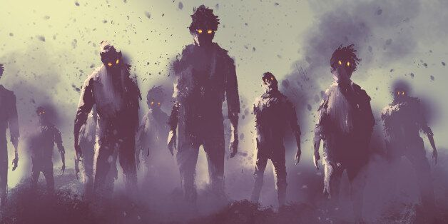 zombie crowd walking at night,halloween concept,illustration