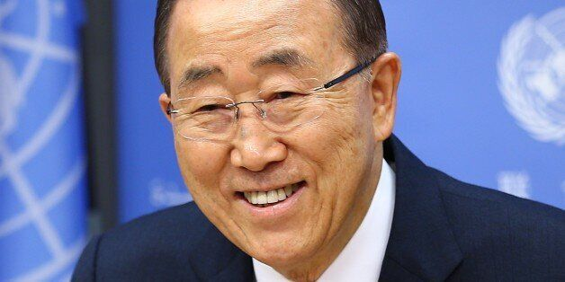 NEW YORK, UNITED STATES - DECEMBER 16 : United Nations Secretary General Ban Ki-moon delivers a speech...