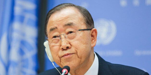 NEW YORK, NY - DECEMBER 16: Secretary-General of the United Nations, Ban Ki-Moon speaks to the audience...