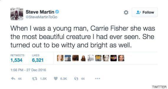 스티브 마틴이 캐리 피셔 추모 트윗을