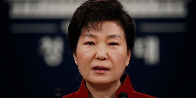 South Korea's President Park Geun-hye addresses the nation at the Presidential Blue House in Seoul on...