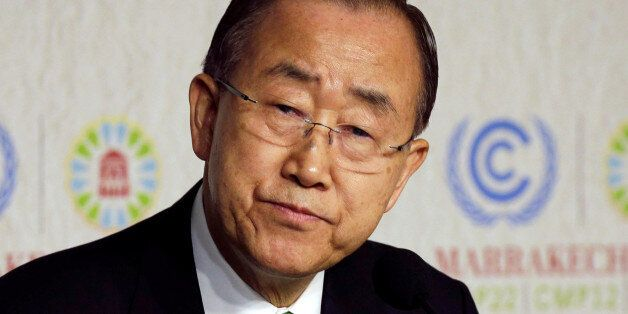 United Nations Secretary-General Ban Ki-moon speaks at the UN World Climate Change Conference 2016 (COP22)...