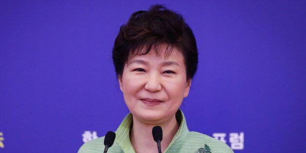 SHANGHAI, SHANGHAI - SEPTEMBER 04: (CHINA OUT) South Korean President Park Geun-hye delivers a speech...
