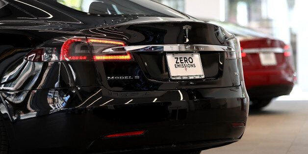 SAN FRANCISCO, CA - AUGUST 10: A Tesla Model S is displayed inside of the new Tesla flagship facility...