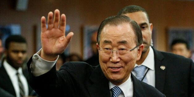 UN Secretary-General Ban Ki-moon waves as he departs from UN Headquarters on December 30, 2016, in New...