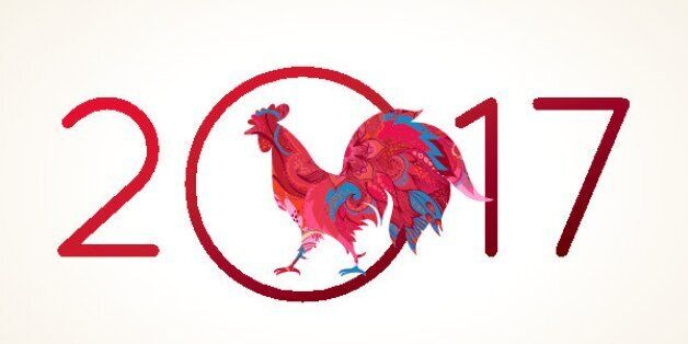 Vector illustration of rooster, symbol of 2017 on the Chinese calendar. Silhouette of red cock, decorated...