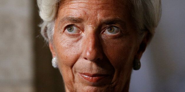 International Monetary Fund (IMF) Managing Director Christine Lagarde takes part in a news conference...