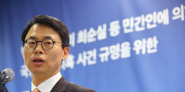 '박근혜 정부의 최순실 등 민간인에 의한 국정농단 의혹 사건 수사 규명을 위한 특별검사팀'의 대변인인 이규철 특검보가 24일 오후 서울 대치동 사무실에서 브리핑을 하고