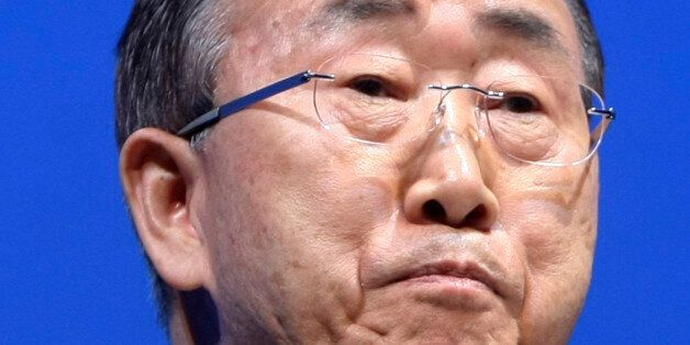 U.N. Secretary General Ban Ki-Moon talks during the opening ceremony of the plenary session of the high-level...