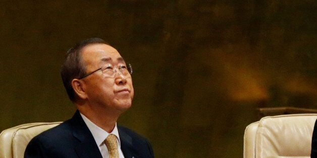 United Nations Secretary General Ban Ki-moon (L) and President of the General Assembly Peter Thomson...