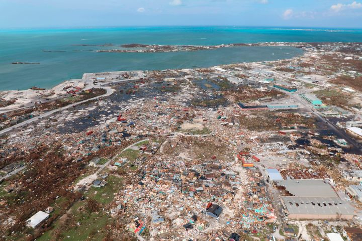 The destruction caused by Hurricane Dorian is seen from the air, in Marsh Harbor, Abaco Island, Bahamas, Wednesday, Sept. 4,