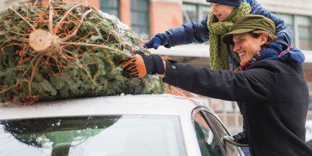 Man with kid (6-7) bonding Christmas tree, Jersey City, New Jersey,